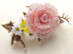 薔薇と小花のお花畑ビーズバレッタ