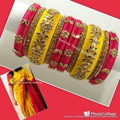 23 Trendy Ideas For Jewerly Wedding Necklace Flower Girls Silk Thread Bangles Design, Silk Thread Necklace, Silk Bangles, Bridal Bangles, Thread Jewellery, Fabric Jewelry, Indian Bangles, Handmade Jewellery, Bridal Jewelry