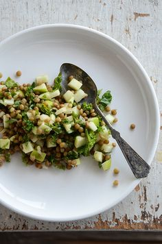 Lentil, green apple, kale salad