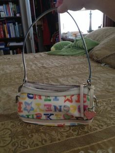 Dooney & Bourke Small White Doodle Signature Bag