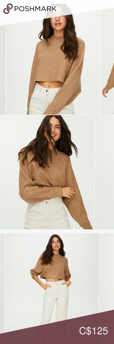 brown aritzia lolan sweater NEVER WORN Aritzia Sweaters Crew & Scoop Necks Plus Fashion, Fashion Tips, Fashion Trends, Scoop Neck, Bell Sleeve Top, Sweaters For Women, Brown, Closet, Outfits