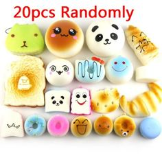 LEMO 20pcs Kawaii Squishies Soft Foods Panda Bun Toasts Multi Donuts Cell Gift Phone Chain TO337, 2016 Amazon Hot New Releases Office Supplies  #Office-Products