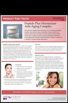 NuCerity's Peptide Plus Moisturiser brightens and revitalises dry skin through it's intense hydration. www.mynucerity.biz/miriamlockett
