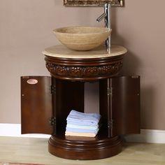 Silkroad Exclusive Maya English Chestnut 24 In Vessel Single Sink Bathroom  Vanity With Travertine Top Atg6629560