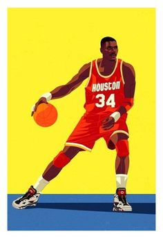 Print of Hakeem Olajuwon of the Houston Rockets. 17 x 22 — Open Edition Printed on exhibition grade paper. Basketball Is Life, Basketball Legends, Basketball Uniforms, Basketball Hoop, Basketball Jersey, Basketball Stuff, Basketball Jones, Hakeem Olajuwon, Mugs