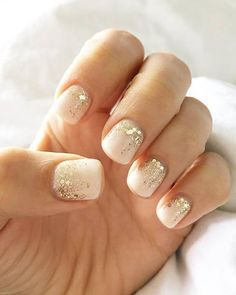 Nude & Glitter Wedding Nails for Brides / http://www.himisspuff.com/wedding-nail-art-desgins/13/