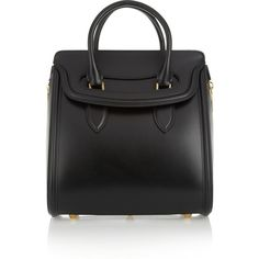 Alexander McQueen The Heroine leather tote (€2.135) ❤ liked on Polyvore featuring bags, handbags, tote bags, alexander mcqueen, totes, black, black leather tote bag, genuine leather tote bag, black handbags and black tote