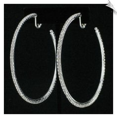 Silvertone Hoop Clip On Earrings Accented with Rhinestones( 3 in ) $20 @ www.whimzgirlclipearrings.com
