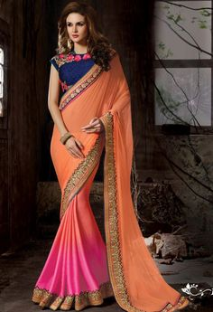 Peach Georgette Designer Saree 11008