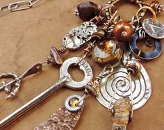Mixed Media Talisman Necklace + Antique and Vintage Charms + Ethnographic…