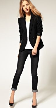 simple black blazer & white T