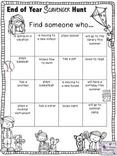 3rd Grade Grapevine:  End of Year Scavenger Hunt