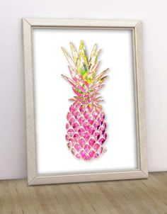 Tropical Pink Pineapple Printable by ModernPrintableArt
