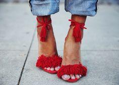 aquazzura wild things, red fringe shoe