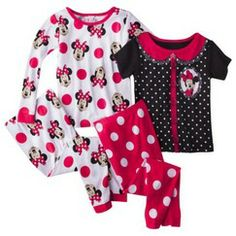 Disney® Minnie Mouse Toddler Girls' 4-Piece Long-Sleeve Pajama Set
