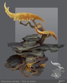 Tree and rock 2013, Tangi Bodio on ArtStation at https://www.artstation.com/artwork/rOZN6