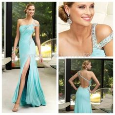 Free Shipping 2014 Evening dress one-shoulder Split chiffon prom evening dresses backless vestido de festa long evening dress