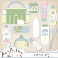 Diaper Bag - Newborn Baby - Layered PSD Templates with PNG by Kim Cameron for Digital Scrapbooking #CUDigitals