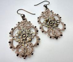 Filigree tatted earrings by yarnplayer on Etsy, $20.00
