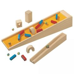 Haba Ball Track Magnetic Stairs- could I make with a wedge block, sheet metal, and foam blocks with magnets glued on?!