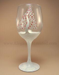 White Spiral Tree Wine Glass - Elegantly Haunted