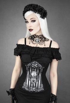 "Serre-taille Restyle corset Gothique ""Cat Skull"""