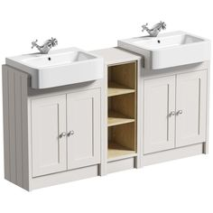 The Bath Co. Dulwich stone ivory floorstanding double vanity unit and basin with open storage combination The Bath Co. Bathroom Storage Units, Bathroom Vanity Units, Bathroom Ideas, Storage Area, Bathroom Hacks, Bathroom Photos, Grey Bathroom Furniture, Bathroom Grey, Family Bathroom