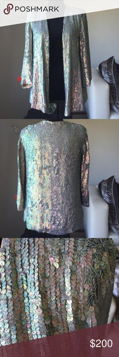 Sequin jacket by French Connection Sequin jacket. Pink/green hue off the sequin. Fully lined. 3/4 length sleeves. Fabulous piece to top off any outfit French Connection Jackets & Coats