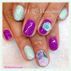This mani makes me wanna go on a tropical vacation!  The 3-D flower decals are too much! #wellmanicured #nails