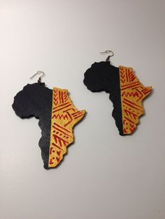 Hand Painted Wooden Africa Continent Tribal Earrings by LaVieBelle, $12.00