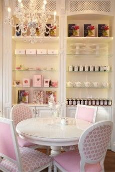 Peggy Porschen Cakes, Belgravia, London  How interesting - a combination of round and square back chairs.