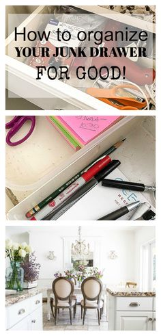 7 Steps to Organize the Junk Drawer for Good #organize #organization #kitchenorganization #drawers #cleaning