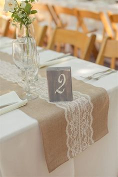 Burlap and Lace Table Runner with vintage table number