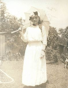vintage photo 1914 Young Lady w Parasol and Amazing by maclancy,