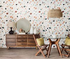Looking for the perfect accent wall? We've got you covered. This mid century modern print will bring a trendy twist to any wall in your home. Between the boldly shaped specks and the variety of colours, our Terrazzo print will steal attention and bring a new funky element to your space. Vinyl Wallpaper, Home Wallpaper, Wallpaper Murals, Print Wallpaper, Trendy Wallpaper, Contemporary Wallpaper, Traditional Wallpaper, Contemporary Decor, Accent Wall Bedroom