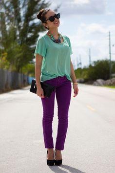 mint top purple pants