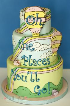 This Dr Seuss Oh The Places You'll Go birthday cake or kindergarten graduation cake is perfect. Dr Seuss Cake, Dr. Seuss, Pretty Cakes, Beautiful Cakes, Amazing Cakes, Cupcakes, Cupcake Cakes, Fancy Cakes, Creative Cakes