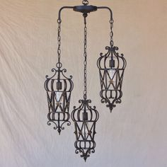 6173-3 Mediterranean style wrought Iron pendant chandelier-Lights of Tuscany - STAIRWELL