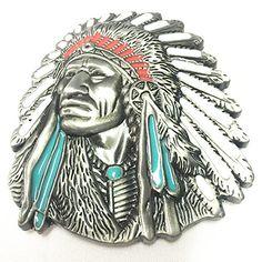 e0aa25479933 Buy 3d Native American Old West Indian Warrior Chief Belt Buckle Biker  Motorcycle Vintage Silver -