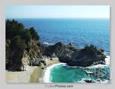 Waterfall Beach in Big Sur CA photo and art photographic prints of Big Sur California. Big Sur California, Photographic Prints, Airplane, Ticket, Places Ive Been, Waterfall, Spaces, Live, Beach