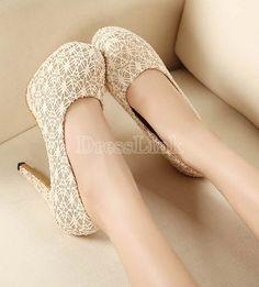 $10.10 Ladies Lace High Heel Platform Shiny Embellishment Pumps Shoes 3 Colors