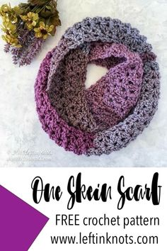 It takes just one skein of Caron Tea Cakes or approx. 204 yards of your favorite Super Bulky Weight (Category yarn. I hope you enjoy the Frosted Berry Infinity Scarf One Skein Crochet, Crochet Beanie, Crochet Scarves, Crochet Shawl, Easy Crochet, Crotchet, Crochet Stitches, Caron Cake Crochet Patterns, Knit Cowl