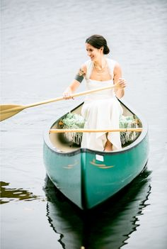 Possibly have both bride and groom come up to the reception? - Bride rides up in a green canoe? Love it.