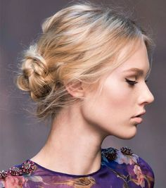 This twisted bun is such a glam hairstyle for winter.