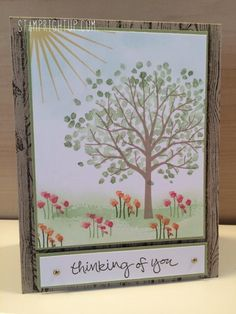 Stampin Up Sheltering Tree DIY video tutorial showing how to make a card from start to finish. Lov the sunny day landscape scene in this card, so bright & cheery!