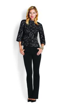 Lace Overlay Jacket & Classic Ponte 5 Pocket Pant http://www.myjockeyp2p.com/wprice