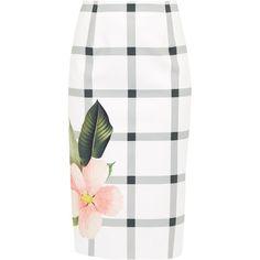 Ted Baker Mimie Secret Trellis Pencil Skirt, White ($105) ❤ liked on Polyvore featuring skirts, bottoms, below knee pencil skirt, metallic skirt, cotton skirts, floral pencil skirt and pencil skirts