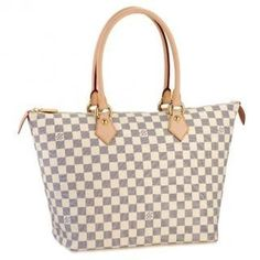 Louis Vuitton Damier Azur Canvas Saleya MM Beige N51185 Damier Azur canvas,txtile lining,natural cowhide trimmings and rounded handles; Shiny brass pieces; Zipper closure; Flat interior pocket and phone pocket; Carried on the shoulder.  17.7 x 11.2 x 7.9
