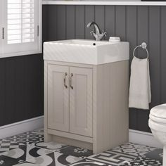 Darcy 570mm Traditional 2 Door Vanity Unit with Basin - French Grey  drench.co.uk