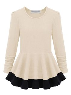 White Color Block Peplum Blouse